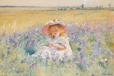 A Young Girl in a Field of Salvia, Oxeye Daisies and Meadow Foxtail, (W/C, Gouache)