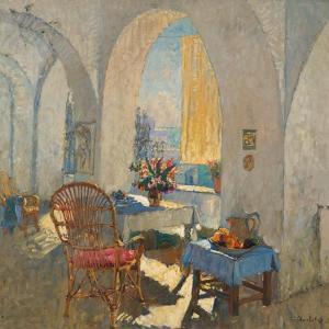 A Sunny Terrace, 1930 by Konstantin Ivanovich Gorbatov