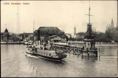 Konstanz Bodensee, Dampfer Im Hafen, Steg,Kirche--Giclee Print