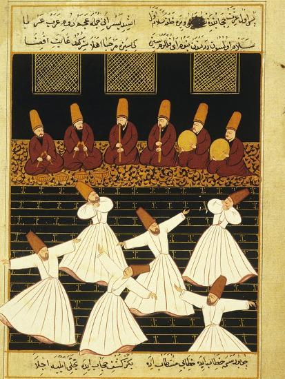 Konya Whirling Dervishes Ritual, 16th Century, Ottoman Miniature of the Anatolian School--Giclee Print