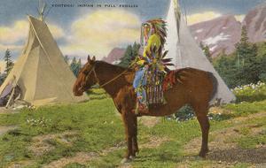 Kootenai Indian and Tepees, Montana