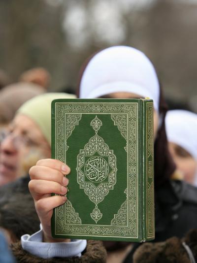 Koran Being Held During a Muslim Demonstration, Paris, France, Europe-Godong-Photographic Print