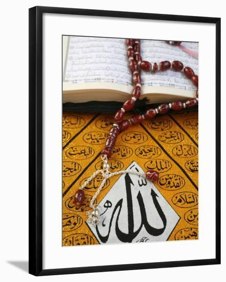 Koran, Rosary and Allah Calligraphy, Paris, France, Europe-Godong-Framed Photographic Print