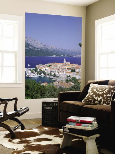 Korcula Island, Town Skyline and Coastline, Korcula, Adriactic Islands, Croatia-Steve Vidler-Wall Mural