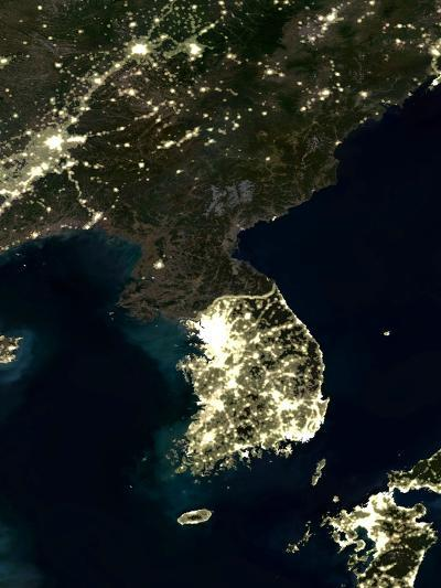 Korea At Night, Satellite Image-PLANETOBSERVER-Photographic Print