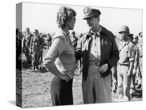 Korean War Correspondent Marguerite Higgins Speaking W. General Douglas Macarthur