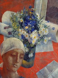 Head of a Woman and a Vase of Flowers, 1921 by Kosjma Ssergej Petroff-Wodkin