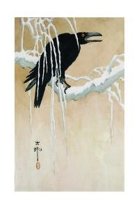 Raven on a Snowy Branch by Koson Ikeda
