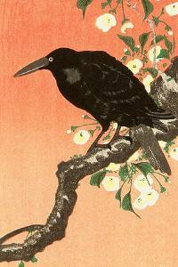 Crow Against Orange Sky by Koson Ohara