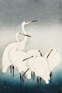Five White Herons Standing in Water; Snow Falling by Koson Ohara