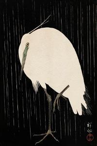 White Heron Standing in the Rain by Koson Ohara