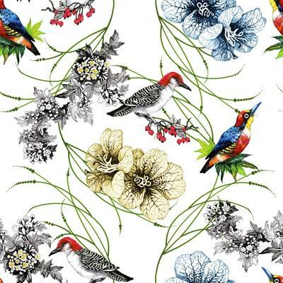 Watercolor Hand Drawn Seamless Pattern with Tropical Summer Flowers and Exotic Birds on White Backg
