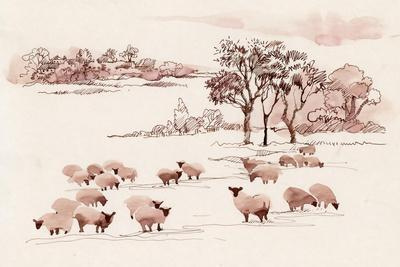 Watercolor Summer Landscape with Sheep.