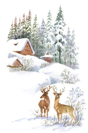 Watercolor Winter Landscape with Deers