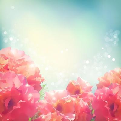 Shining Flowers Roses (Peonies) Background