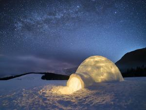 Night Landscape with a Snow Igloo with Light. Extreme House. Winter in the Mountains. Sky with the by Kotenko Oleksandr
