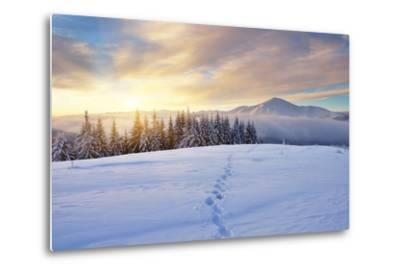 Winter Landscape with Sunrise in the Mountains, Path in the Snow, Carpathians, Ukraine, Europe