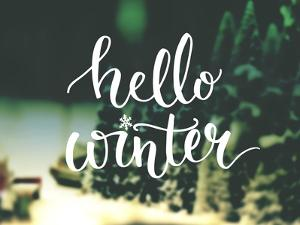 Hello Winter Typography Overlay on Blurred Photo of Christmas Trees. Lettering Banner for Greeting by kotoko