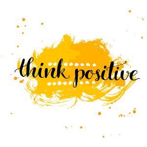 Modern Calligraphy Inspirational Quote - Think Positive - at Yellow Watercolor Background. by kotoko