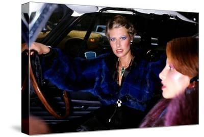 Model, Sitting in the Driver's Seat of a Car, Wearing a Blue-Dyed Chinchilla Short Blouson