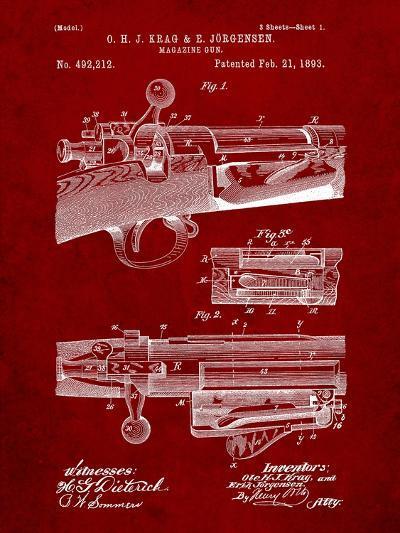 Krag Jãrgensen Repeating Rifle Patent Print-Cole Borders-Art Print