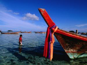 Bow of Traditional Longtail Boat with Cloth to Appease Sea Spirits, Thailand by Kraig Lieb