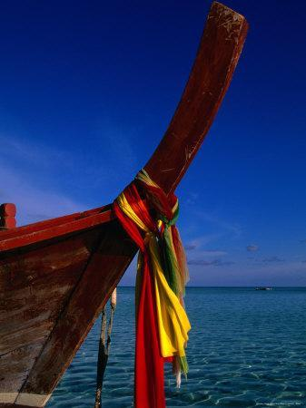 Bow of Traditional Longtail Boat with Coloured Cloth to Appease Sea Spirits, Thailand