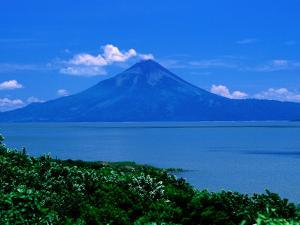 Lake Managua and Momotombo Volcano by Kraig Lieb