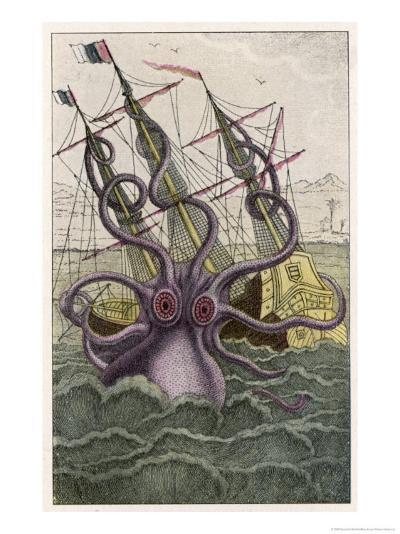 Kraken Attacks a Sailing Vessel-Denys De Montfort-Giclee Print