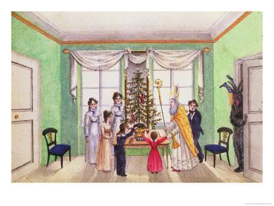 Krampus and St. Nicholas from the Journal of Carl Baumann Written 1813-25-Franz Paumgarrten-Giclee Print