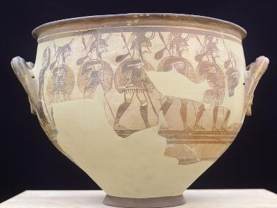 Krater Depicting Shardana Warriors, Painted Terracotta Vase from Mycenae--Giclee Print