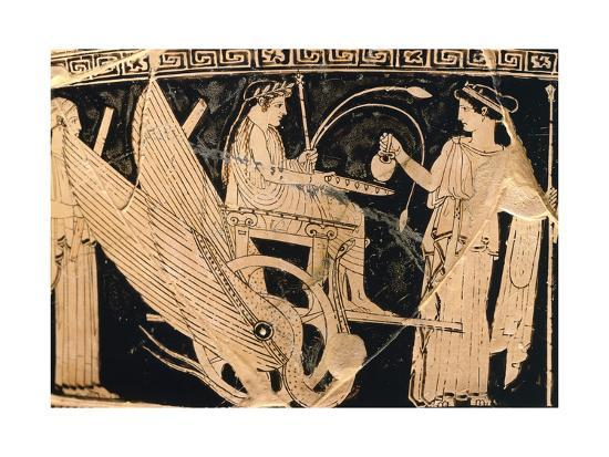 Krater Showing Scene of Eleusis Cult with Triptolemus in Winged Chariot and Demeter--Giclee Print