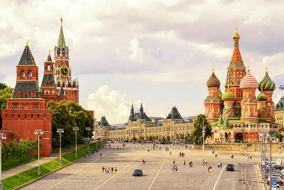 Kremlin and Cathedral of St. Basil at the Red Square in Moscow, Russia-Viacheslav Lopatin-Photographic Print