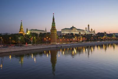 Kremlin Churches and Towers from Moscow River Bridge, Moscow, Russia-Gavin Hellier-Photographic Print