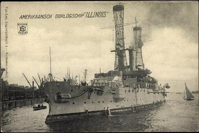 Kriegsschiff Illinois Im Hafen, Boote, Segelboot--Giclee Print