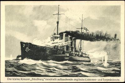 Kriegsschiff Straßburg Schießt Auf Torpedoboote--Giclee Print
