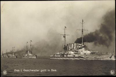 Kriegsschiffe Deutschland, I. Geschwader in See--Giclee Print