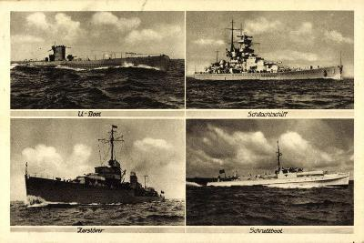 Kriegsschiffe, U Boot, Zerstörer, Schnellboot--Giclee Print