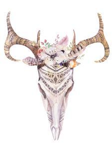 Bohemian Deer Skull - Western Mammal Watercolor by Kris_art