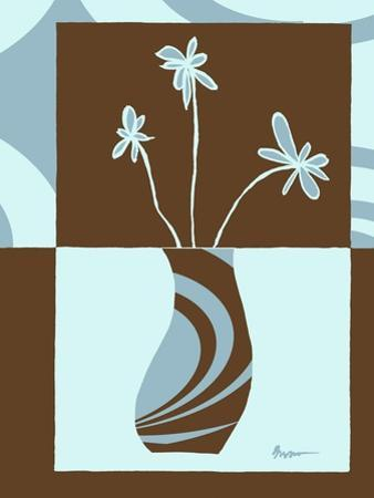 Blue & Brown Minimalist Floral IV