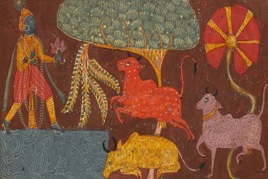 Krishna and Cows at a Pond, from a Bhagavata Purana--Giclee Print