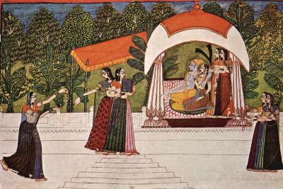 Krishna and Radha in a Pavilion--Art Print