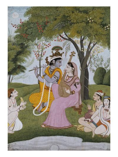 Krishna and Radha Making Music--Giclee Print