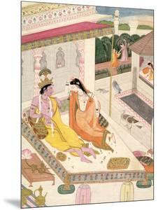 Krishna and Radha on a Bed in a Mogul Palace, Punjab, c.1860