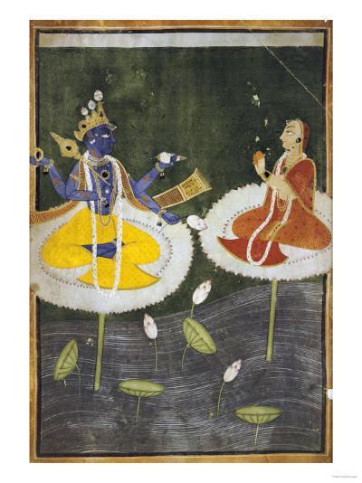 Krishna and Tadha Enthroned, Mankot or Bilaspur, circa 1700--Giclee Print