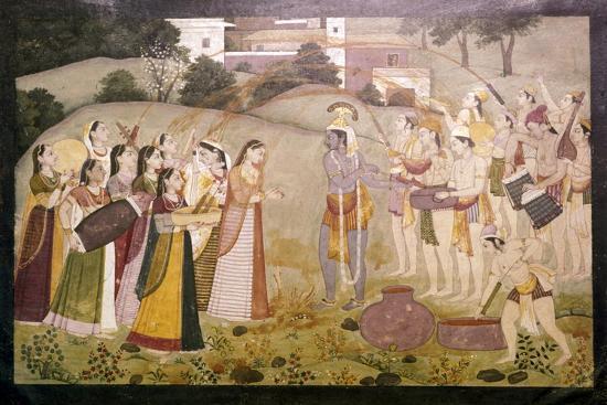 Krishna Celebrating Spring Festival of Holi, c1770-1780-Unknown-Giclee Print