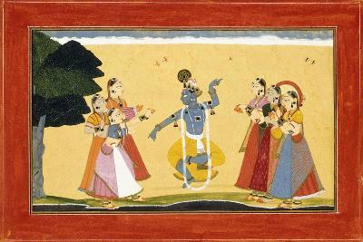 Krishna Dancing before the Cowgirls as They Clap their Hands, C.1730-1735 (W/C on Red Paper)- Manaku-Giclee Print