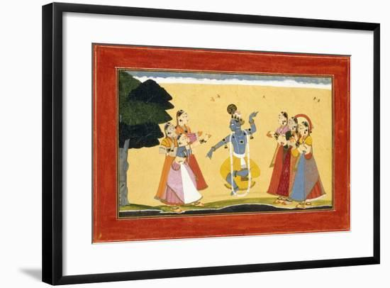 Krishna Dancing before the Cowgirls as They Clap their Hands, C.1730-1735 (W/C on Red Paper)- Manaku-Framed Giclee Print
