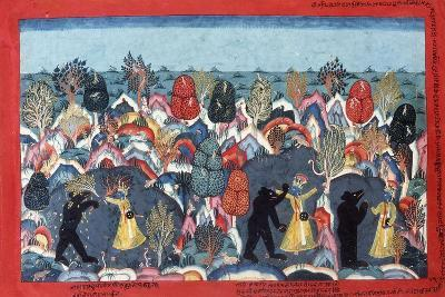 Krishna Fighting Jambavata, King of the Bears, C. 1775--Giclee Print