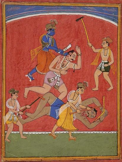 Krishna Killing King Kamsa and Balarama Slaying a Wrestler--Art Print